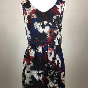 Kensie L Tea Dress Red & Blue NWT